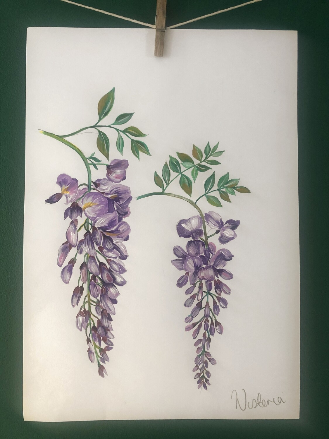 Original Wisteria painting by Victoria Sanders