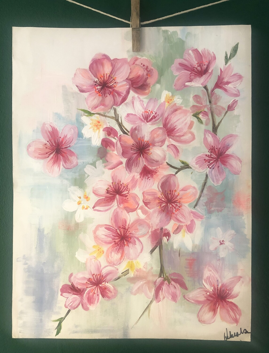 Original Cherry blossom painting by Victoria Sanders