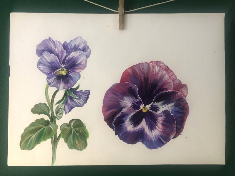 Original Pansy painting by Victoria Sanders
