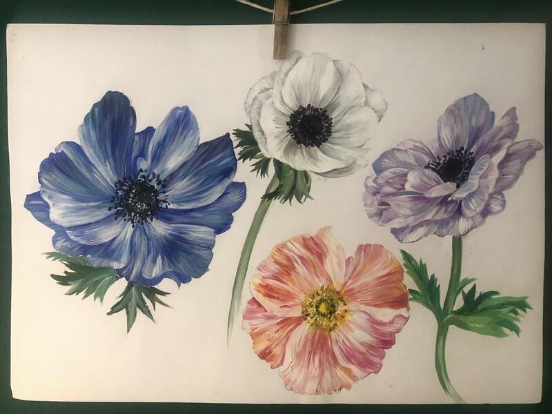 Original Anemone painting by Victoria Sanders