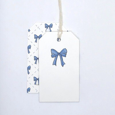 Gift Tag - Bow, Blue