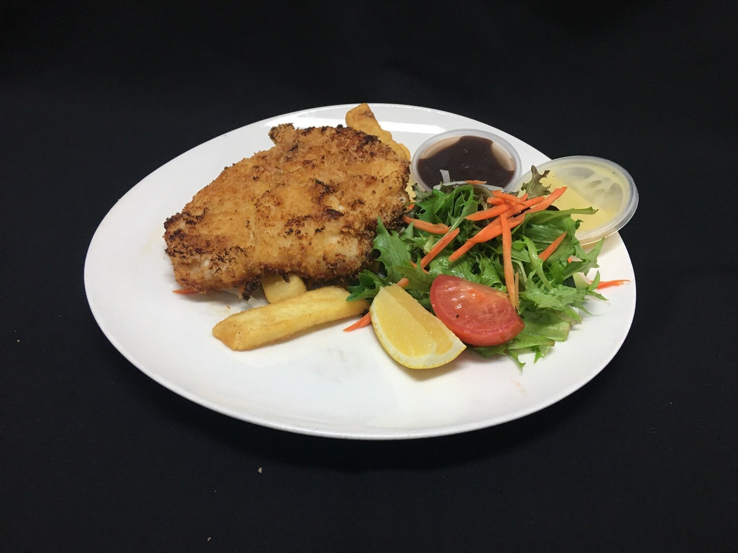 Chicken Schnitzel With Chips Salad And Gravy