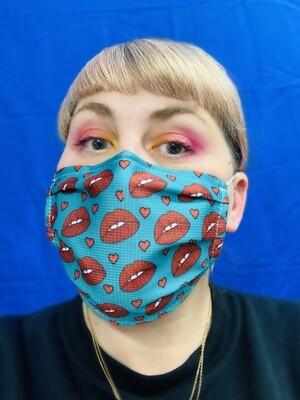 Masque Turquoise Bouche et coeur