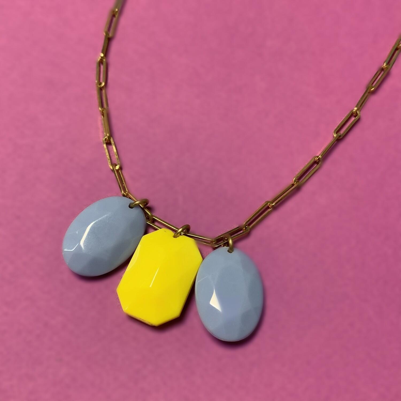 Collier Diamants de plastique Bleu et Jaune