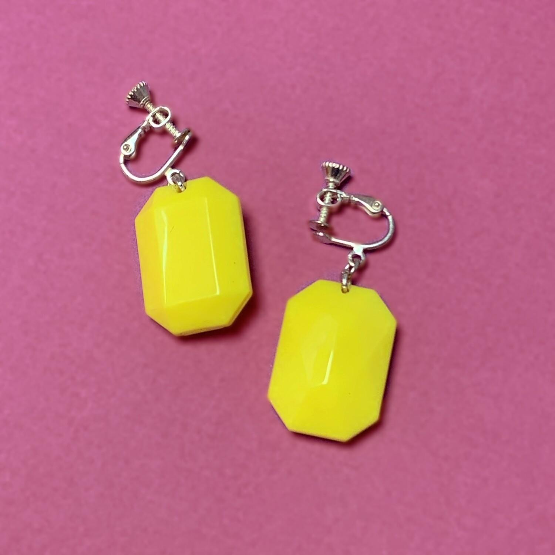 Boucles d'oreille Diamant de plastique Jaune