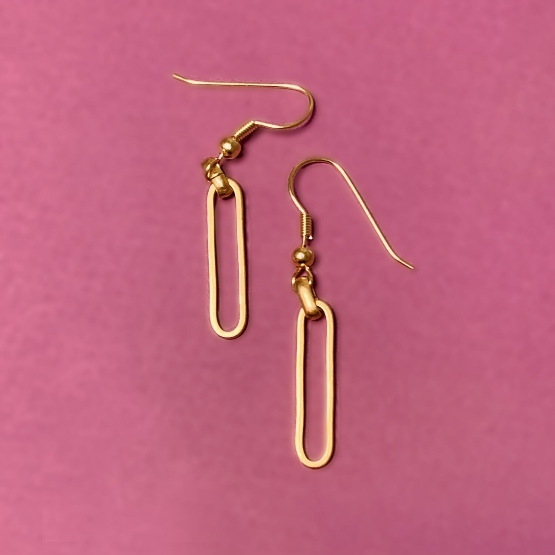 Boucles d'oreilles courtes maillon Rectangulaire - Grands anneaux