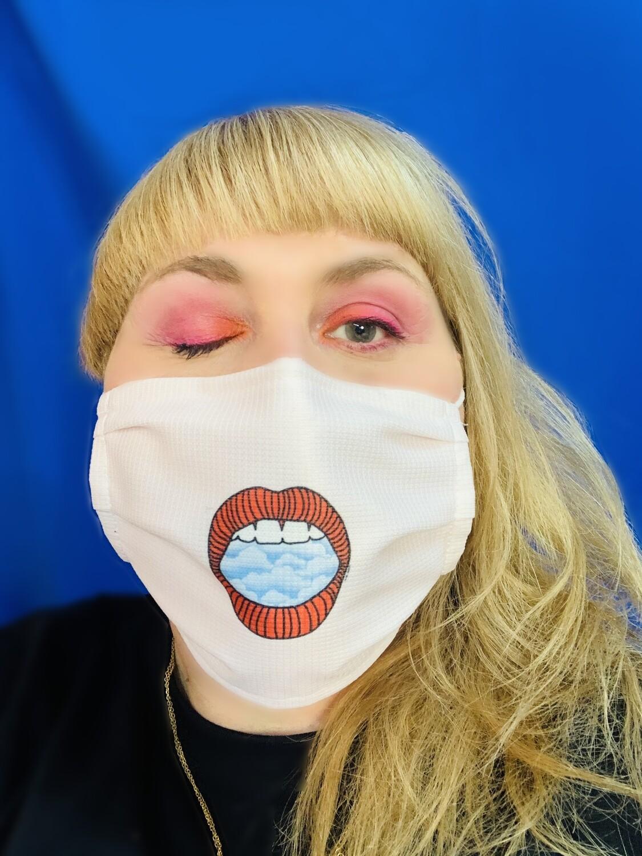 Masque Bouche Bée Rose pâle - Nuage