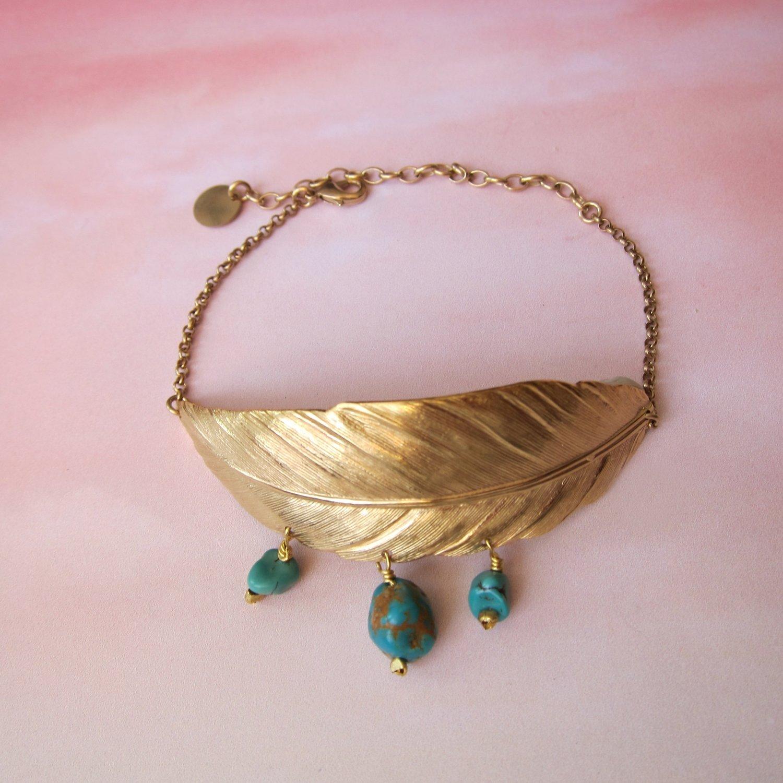 Bracelet Plume et turquoises