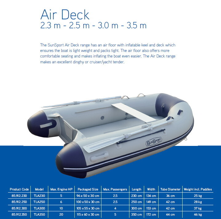 Sun Sport / Talamex, AD FLAT Air Deck Inflatable Craft 2.3m - 3.5m:  SELECT MODEL FOR PRICE