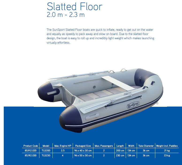 Sun Sport / Talamex, SF Slatted Deck Inflatable Craft 2 m - 2.3m; SELECT MODEL FOR PRICE