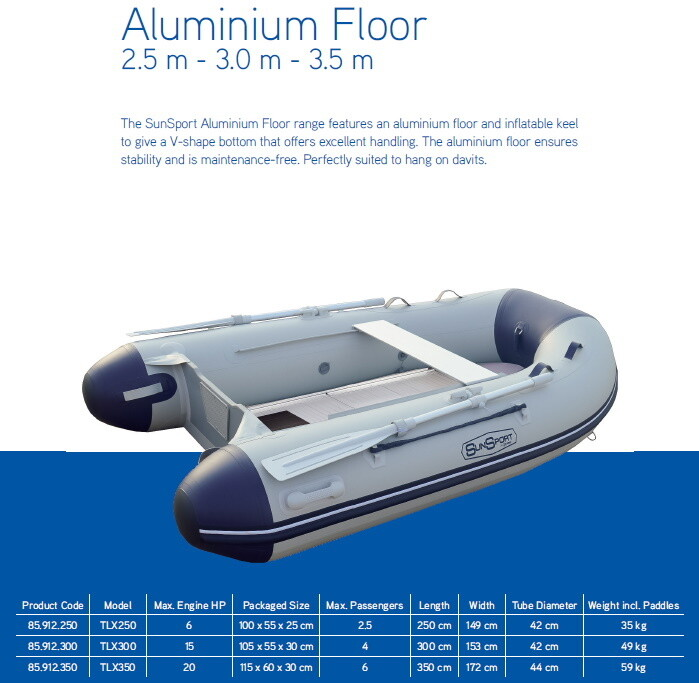 MA Sun Sport / Talamex, Ally Deck, Inflatable Boat:  2.5 ~ 3 ~ 3.5 M