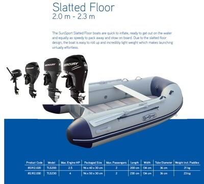 Sun Sport / Talamex, Slatt Deck 200, Various Motor Options  MAKE SELECTION TO SEE PRICING
