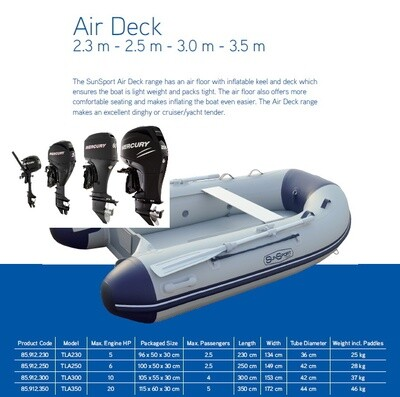 Sun Sport / Talamex, Flat Air Deck AD 250 / Selection of Motors  MAKE SELECTION TO SEE PRICING