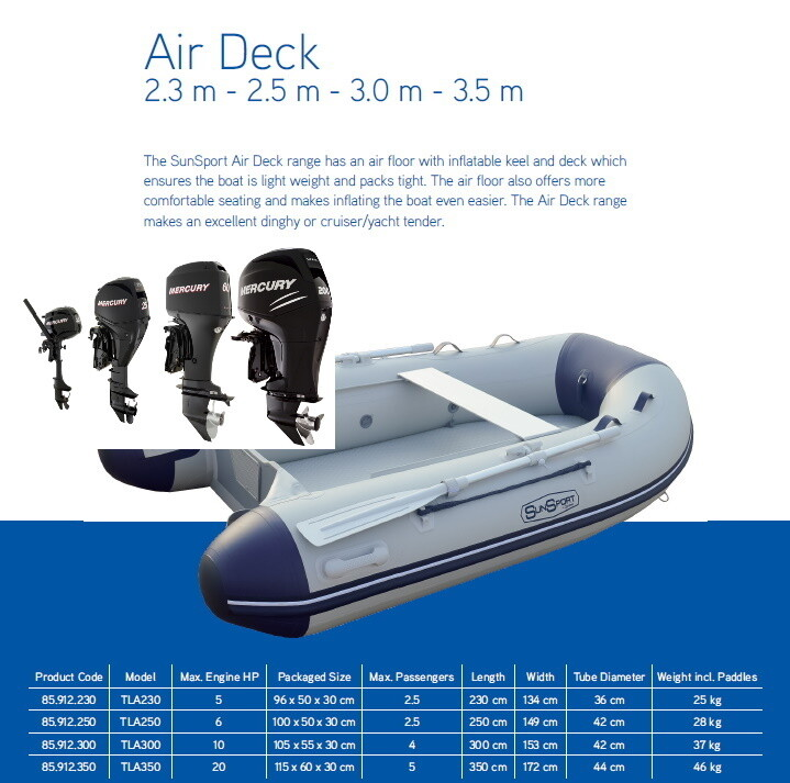 Sun Sport / Talamex, Flat Air Deck AD 230 / Selection of Motors  MAKE SELECTION TO SEE PRICING