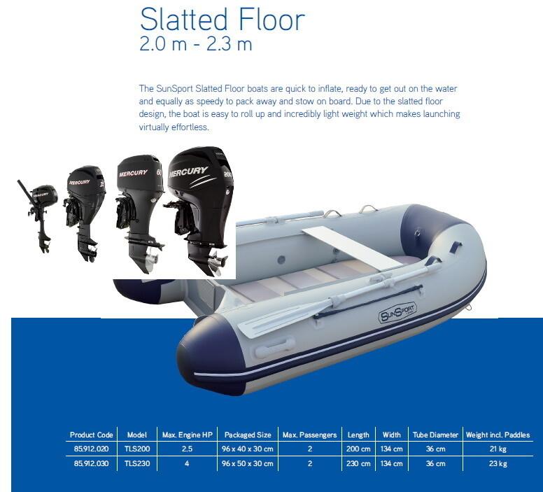 Sun Sport / Talamex, Slatt Deck, 230 / Various Motor Options  MAKE SELECTION TO SEE PRICING