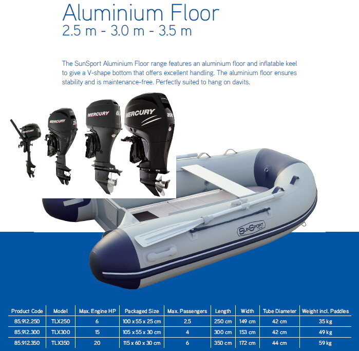 MA Sun Sport / Talamex,, Package with Motor, Ally Deck, Inflatable Boat:  2.5 ~ 3 ~ 3.9 M