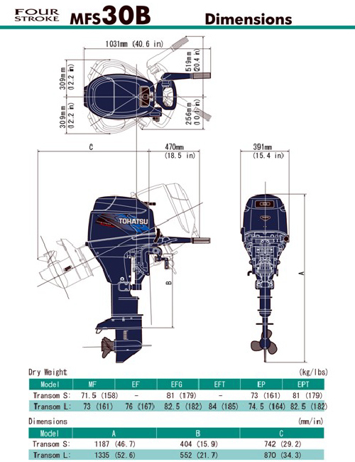 MFS 30B Tohatsu Outboard ~ ALL Models ~ Click to show pricing