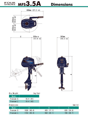 MFS 2.5 C & 3.5 C Tohatsu Outboard Short ~ ALL Models ~ Click to show pricing