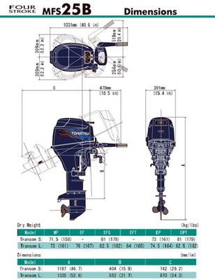 MFS 25B Tohatsu Outboard ~ ALL Models ~ Click to show pricing