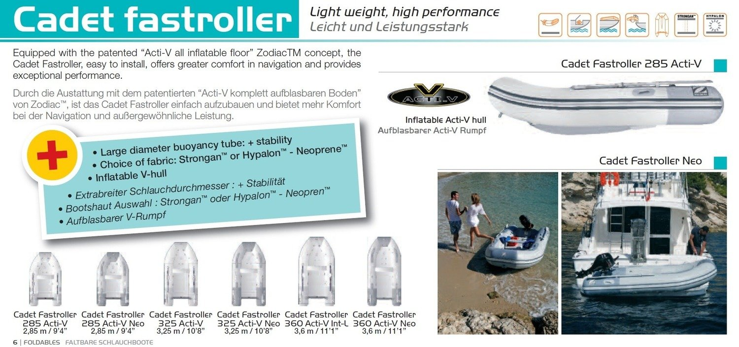 Zodiac CADET FASTROLLER Tenders and Boats, ACTIV V Hull: 2.85m - 3.6m; SELECT MODEL FOR PRICE