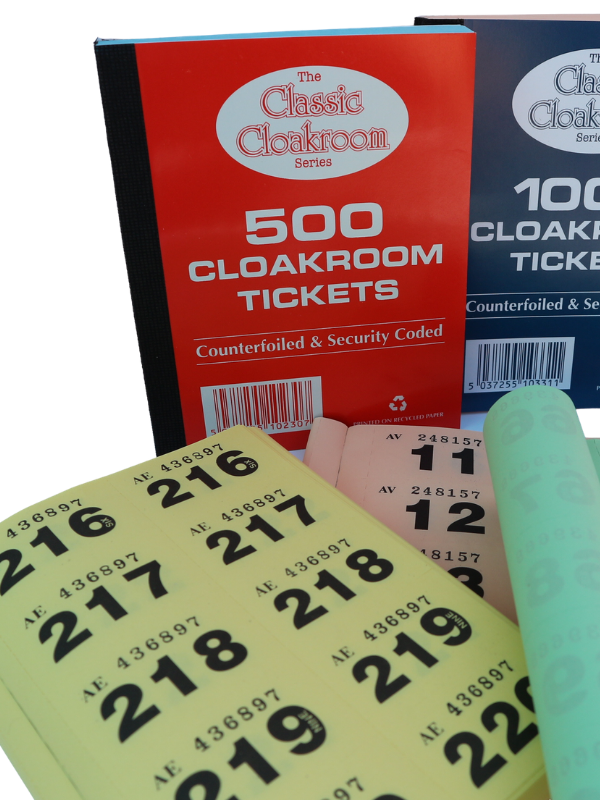 1 - 500 Cloakroom Tickets (Qty: 72 books per box)
