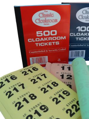 1 - 500 Cloakroom Tickets (Qty: 72 books per box)