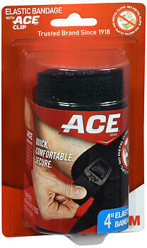 Ace Elastic Bandage with Ace Clip Black 4 inch