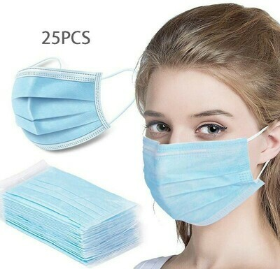 EARLOOP SURGICAL Blue FACE MASKS - 25 PACK