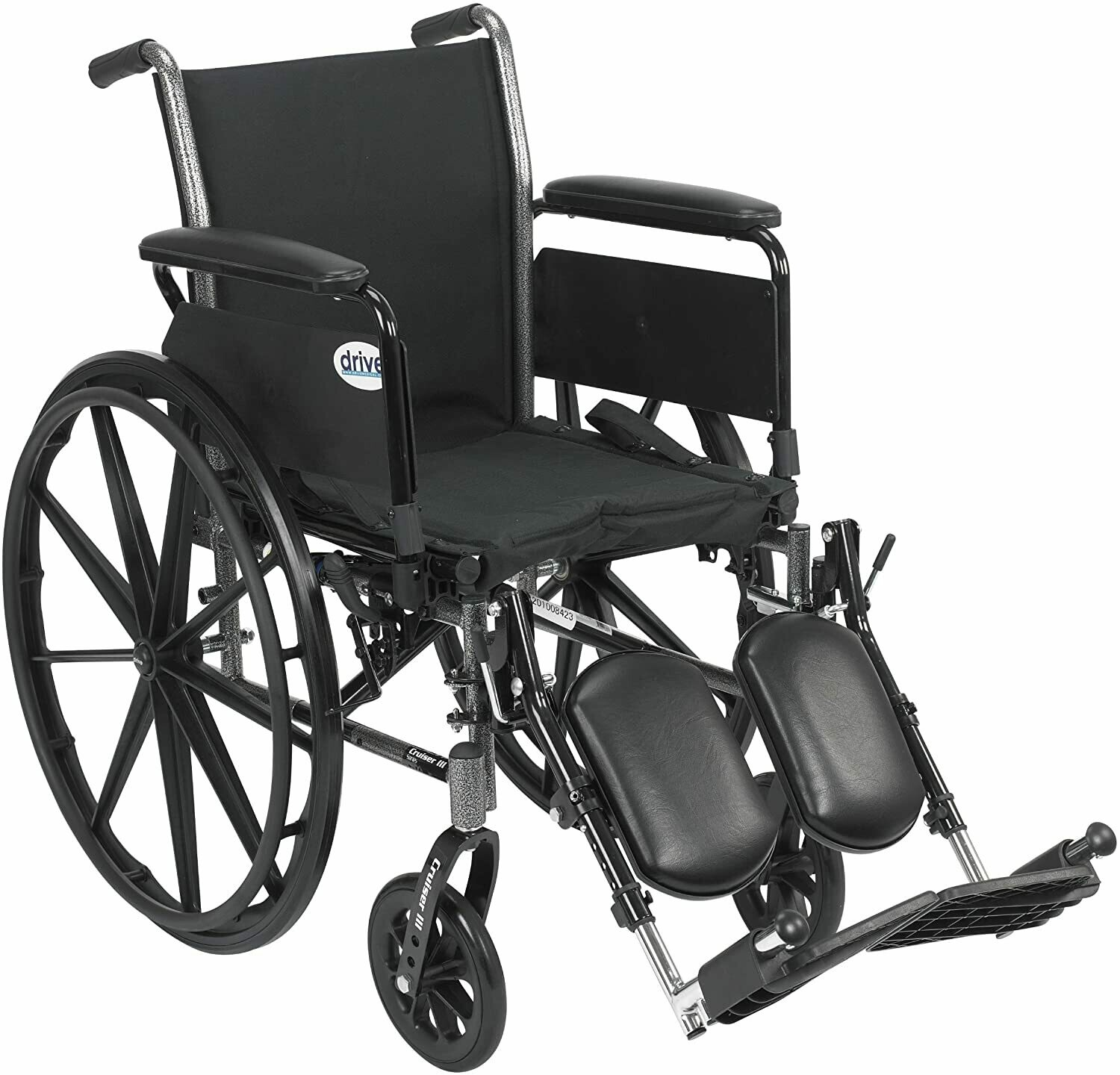 Drive Medical Cruiser III Light Weight Wheelchair with Various Flip Back Arm Styles and Front Rigging Options, Flip Back Removable Full Arms/Elevating Leg...