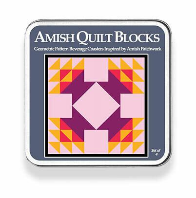 Amish Quilt Blocks Coaster Set