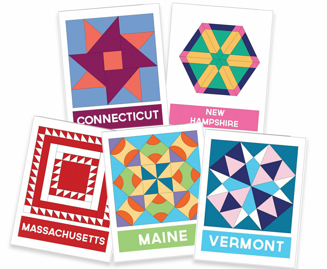 Vintage Quilt Blocks State by State Note Cards (Boxed Set)