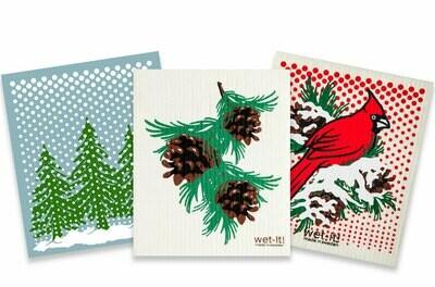 Snowy Day Swedish Dishcloth Holiday Bundle