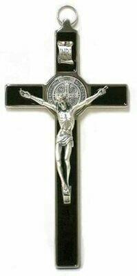 St Benedict Black Enamel Crucifix, Silver Trim & Corpus