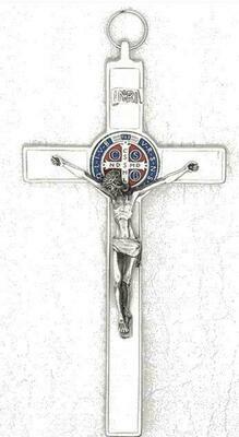 St Benedict White Enamel Crucifix w/ Color Metal