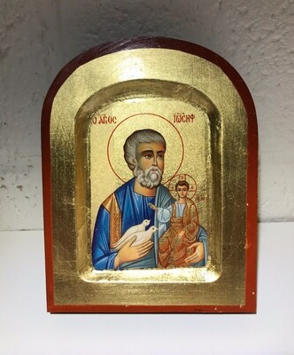 St. Joseph 10x13 cm Arched Hand Painted Wood Icon w/ GOLD LEAF