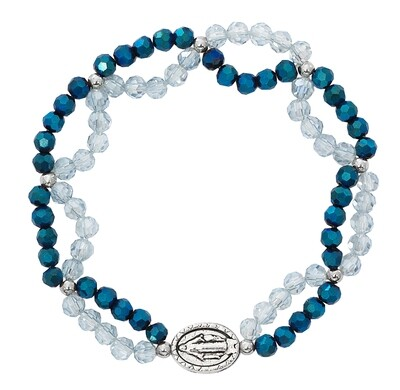 Crystal and Blue Miraculous Medal Stretch Bracelet