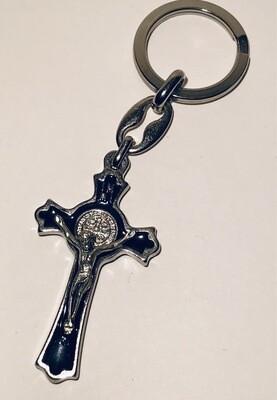 St. Benedict blk/slvr crucifix (Lumen Mundi)