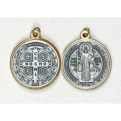 """Scan St Benedict 1"""" Gol/Silver Medal"""
