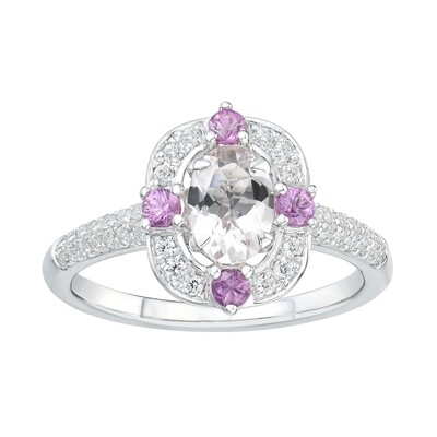 PINK SAPPHIRE & DIAMOND RING (SETTING ONLY)