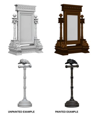 Deep Cuts Nolzur's Marvelous Miniatures - Mirror and Bird on Pedestal (2)