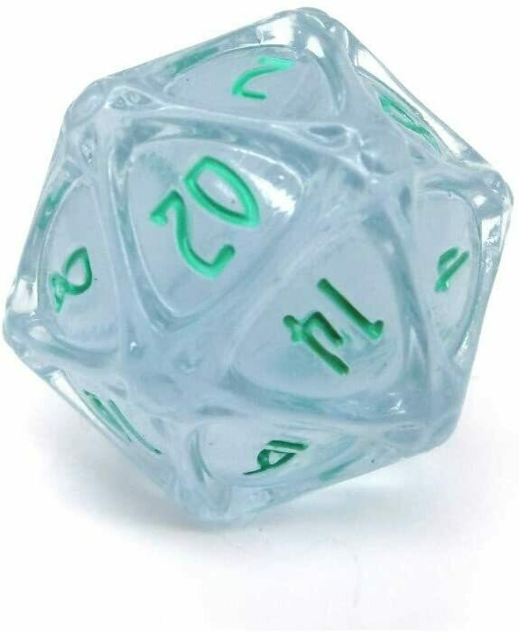 PolyHero 1d20 Orb - Ethereal Ice with Burning Blue