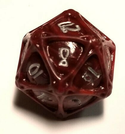 PolyHero 1d20 Orb - Heartwood with Moonsilver