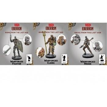D&D Eberron Miniatures - Warforged Cleric, Fighter and Monk
