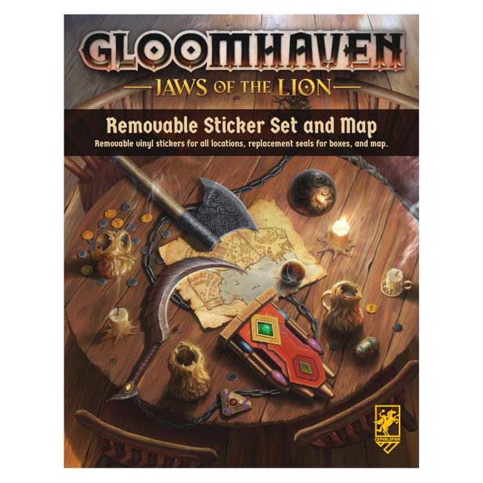 Gloomhaven Jaws of the Lion Removable Sticker Set and map