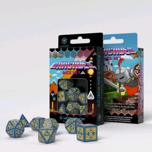 Set dadi Q-workshop - Arcade Blu/Giallo