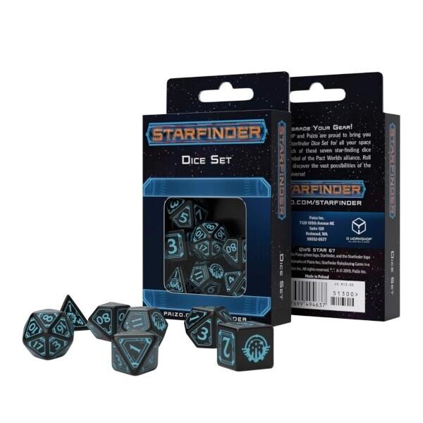 Set dadi Q-workshop - Starfinder Nero/Blu