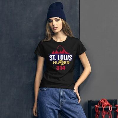 Women's short sleeve St Louis Hustler 314 t-shirt (red, white, blue, & yellow)