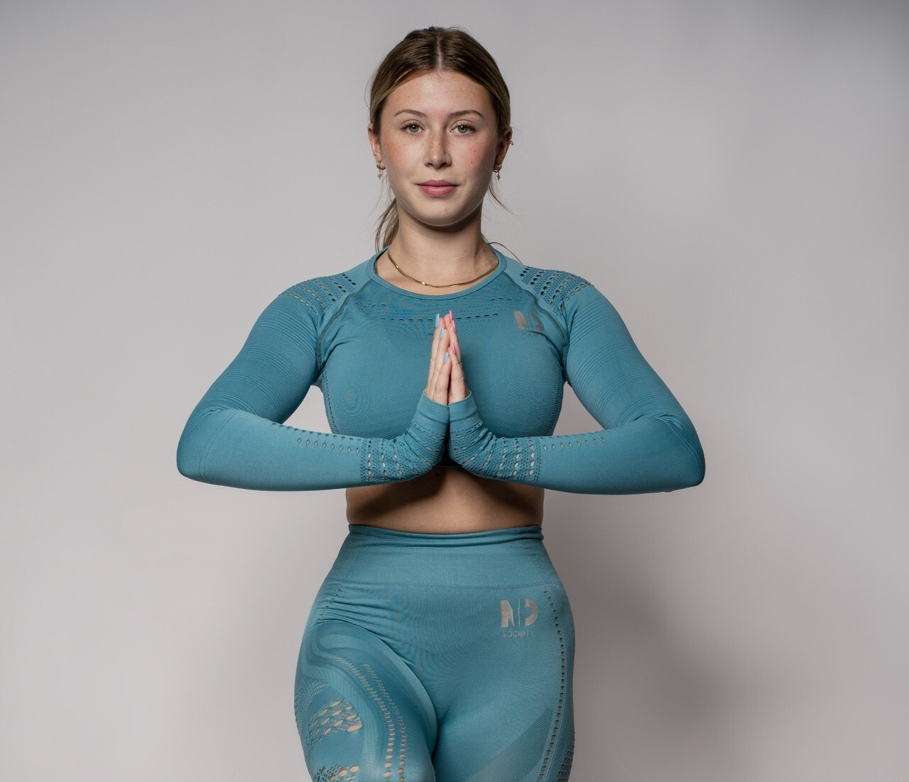 CALM    Turquoise Long Sleeve Top