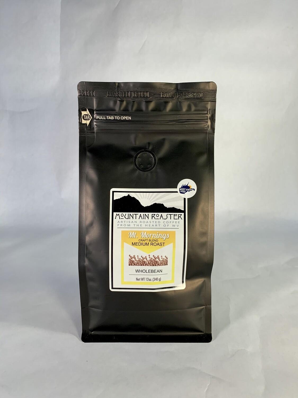 coffee, Mt Mornings, 12 ounce; each; Mountain Roasters