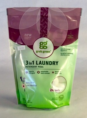detergent, laundry, pods, lavender with vanilla, 24 count; each; grab green